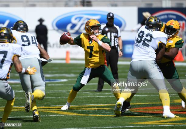 John Wolford of the Arizona Hotshots looks to throw the ball against the San Diego Fleet during an Alliance of American Football game at Sun Devil...