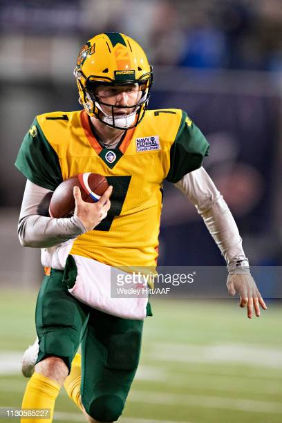 John Wolford of the Arizona Hotshots runs the ball during a game against the Memphis Express at the Liberty Bowl Memorial Stadium on February 16 2019...