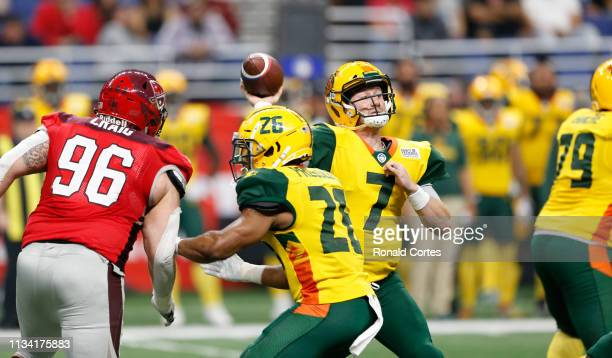 John Wolford of the Arizona Hotshots throws a pass against the San Antonio Commanders at Alamodome on March 31 2019 in San Antonio Texas