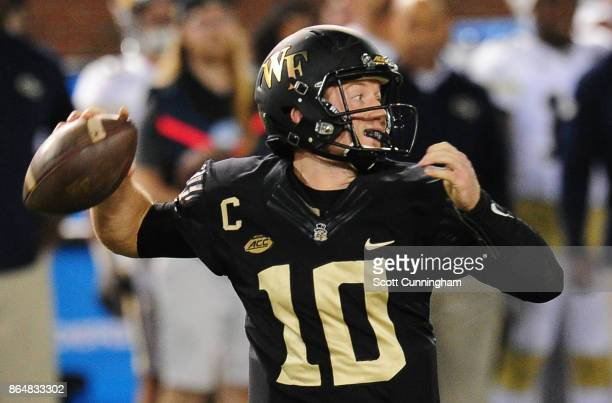 John Wolford of the Wake Forest Deamon Deacons passes against the Georgia Tech Yellow Jackets on October 21 2017 at Bobby Dodd Stadium in Atlanta...