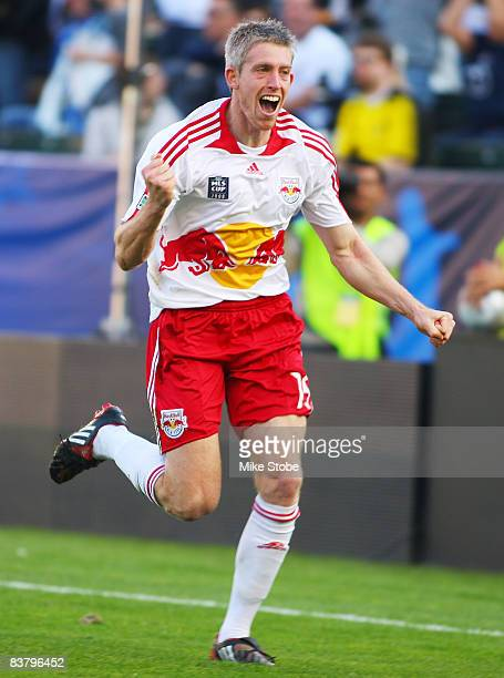 John Wolyniec of the New York Red Bulls celebrates after scoring in the 51st minute against the Columbus Crew at the Home Depot Center during the...