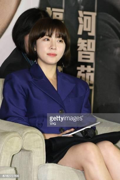 John Woo promotes his new film Manhunt in Taipei with Ha JiwonNanami Sakuraba and Angeles Woo on 23th November 2017 in Taipei Taiwan China