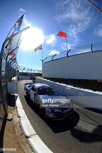 John Wood driver of the Western Rail Inc Chevrolet pulls into the garage area during the final practice prior to the NASCAR KN Toyota/NAPA Auto Parts...