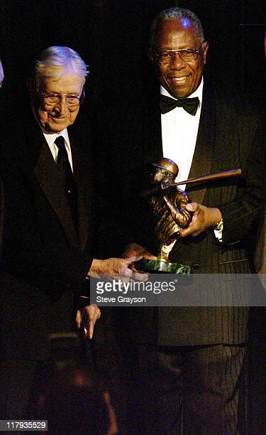 John Wooden Hank Aaron during NAACP Legal Defense Fund's Hank Aaron Humanitarian Award in Sports at The Beverly Hilton Hotel in Beverly Hills...