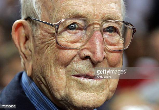 John Wooden the former coach at UCLA is pictured after the boys game at the McDonald's All American High School Basketball Games on March 28 2007 at...