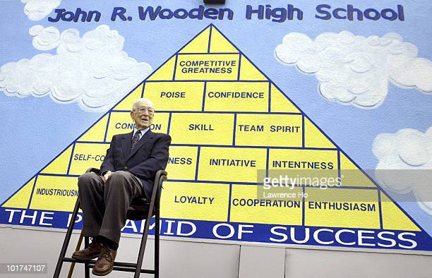 John Wooden UCLA Basketball head coach attends a ceremony to rename Aliso High School in Reseda to John R Wooden High School in his honor on June 4...