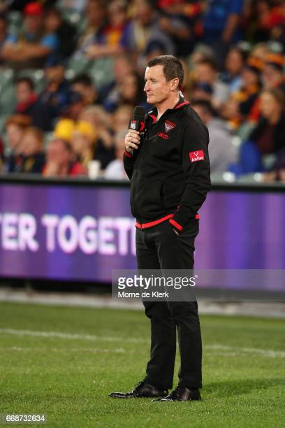 John Worsfold Head Coach of the the Bombers is interviewed before the round four AFL match between the Adelaide Crows and the Essendon Bombers at...