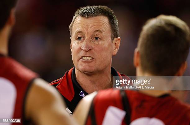 John Worsfold Senior Coach of the Bombers addresses his players during the 2016 AFL Round 09 match between the St Kilda Saints and the Essendon...