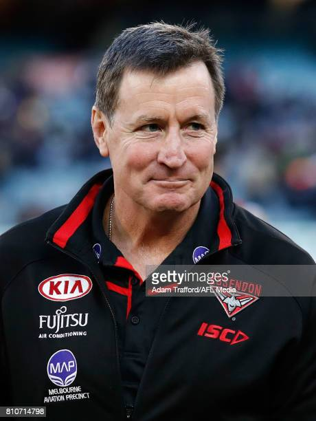 John Worsfold Senior Coach of the Bombers celebrates during the 2017 AFL round 16 match between the Collingwood Magpies and the Essendon Bombers at...