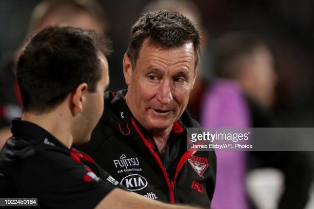 John Worsfold Senior Coach of the Bombers gestures during the 2018 AFL round 23 match between the Port Adelaide Power and the Essendon Bombers at...
