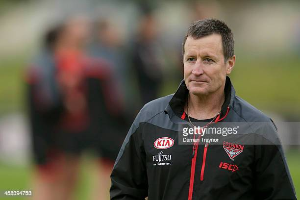 John Worsfold Senior Coach of the Bombers looks on during an Essendon Bombers AFL preseason training session at True Value Solar Centre on November...