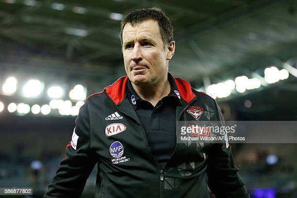 John Worsfold Senior Coach of the Bombers looks on during the 2016 AFL Round 20 match between the Geelong Cats and the Essendon Bombers at Etihad...