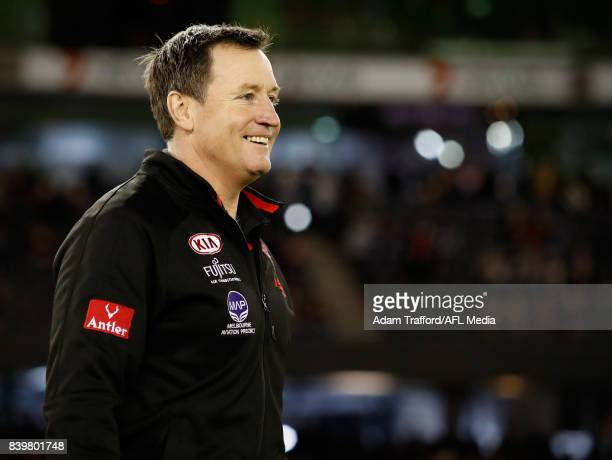 John Worsfold Senior Coach of the Bombers looks on during the 2017 AFL round 23 match between the Essendon Bombers and the Fremantle Dockers at...
