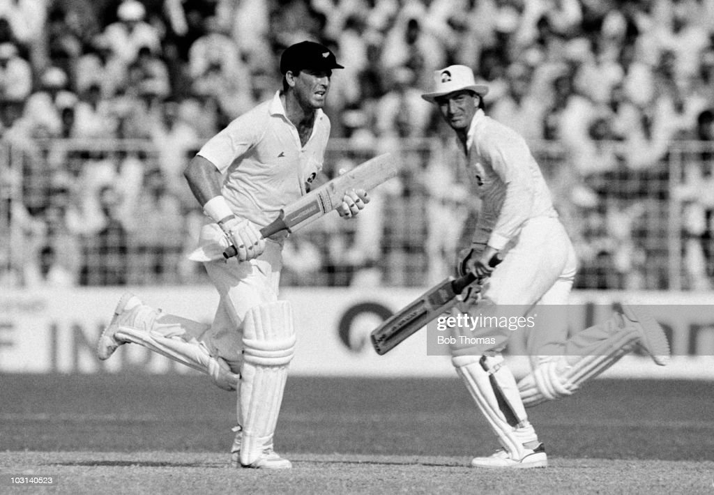 John Wright and Ken Rutherford of New Zealand who scored 66 and 41 respectively run between the wickets during a Cricket World Cup match against...