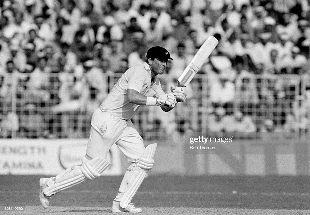 John Wright batting for New Zealand against Australia during the Cricket World Cup match held in Chandigarh India on 27th October 1987 Australia won..