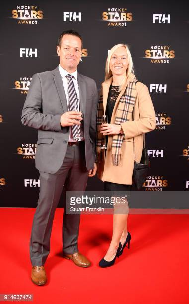 John Wright of South Africa and Sarah Wilson of Scotland pose for a picture during the Hockey Star Awards night at Stilwerk on February 5 2018 in...