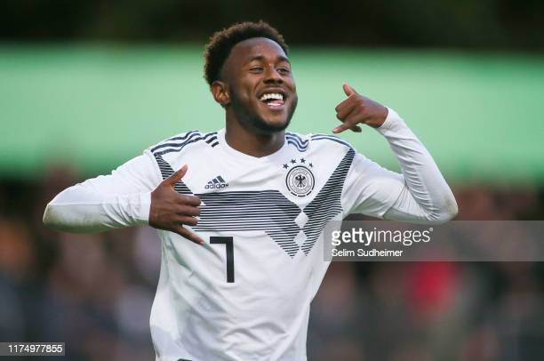John Yeboah of Germany celebrate their teams third goal scoring during the International Friendly match between Germany U20 and Poland U20 at...