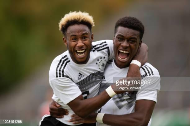 John Yeboah Zamora of Germany and Jesaja Herrmann celebraate after scoring during a friendly match between Germany U19 and Switzerland U19 at...