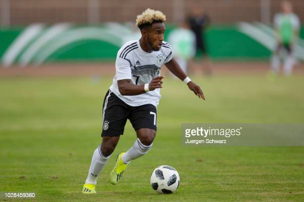 John Yeboah Zamora of Germany drives the ball during a friendly match between Germany U19 and Switzerland U19 at HerbertDroeseStadion on September 7...
