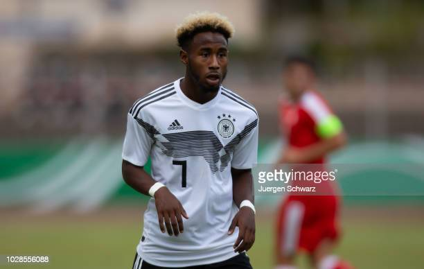 John Yeboah Zamora of Germany looks on during a friendly match between Germany U19 and Switzerland U19 at HerbertDroeseStadion on September 7 2018 in...