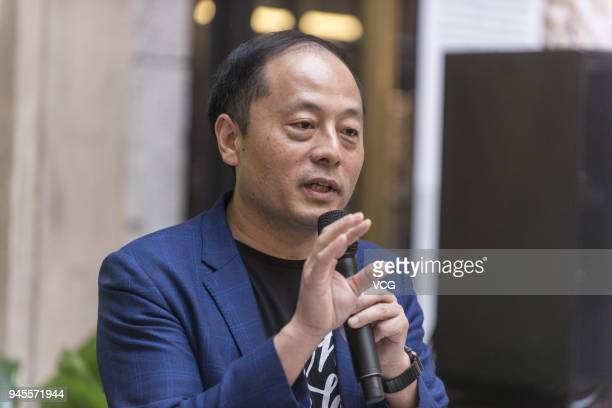 John Zhao chief executive officer of Hony Capital Ltd speaks during a signing ceremony at WeWork Weihai Road flagship on April 12 2018 in Shanghai...