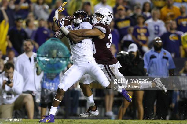 Johnathan Abram of the Mississippi State Bulldogs breaks up a pass intended for Derrick Dillon of the LSU Tigers during the second half at Tiger...