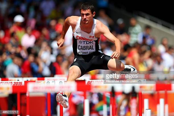 Johnathan Cabral of Canada competes in the Men's 110 metres hurdles heats during day five of the 15th IAAF World Athletics Championships Beijing 2015...