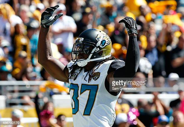 Johnathan Cyprien of the Jacksonville Jaguars asks the crowd for noise during the game against the Pittsburgh Steelers at EverBank Field on October 5...