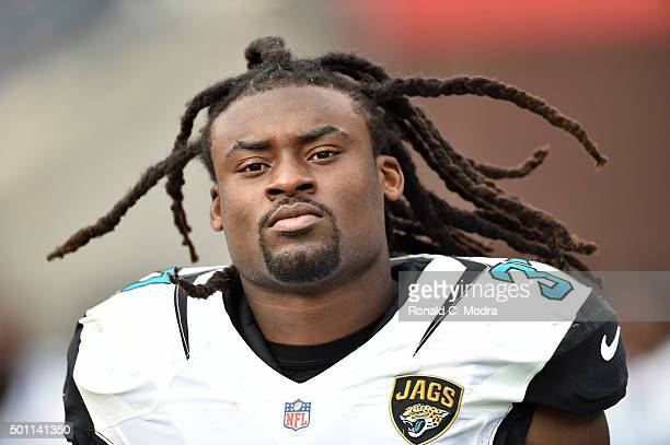 Johnathan Cyprien of the Jacksonville Jaguars looks on during a NFL game against the Tennessee Titans at Nissan Stadium on December 6 2015 in...