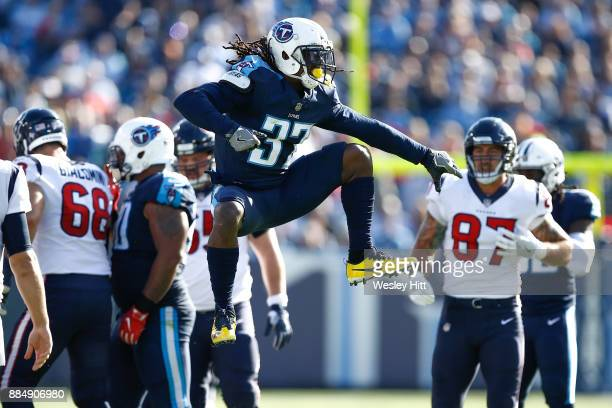 Johnathan Cyprien of the Tennessee Titans reacts against the Houston Texans during the first half at Nissan Stadium on December 3 2017 in Nashville...