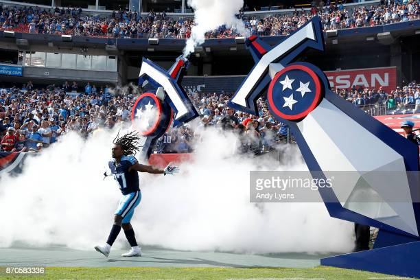 Johnathan Cyprien of the Tennessee Titans takes the field during introductions prior to game against the Baltimore Ravens at Nissan Stadium on...