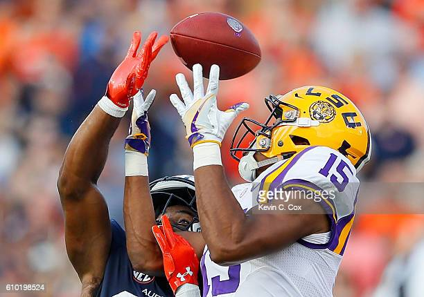 Johnathan Ford of the Auburn Tigers breaks up a pass intended for Malachi Dupre of the LSU Tigers at JordanHare Stadium on September 24 2016 in...