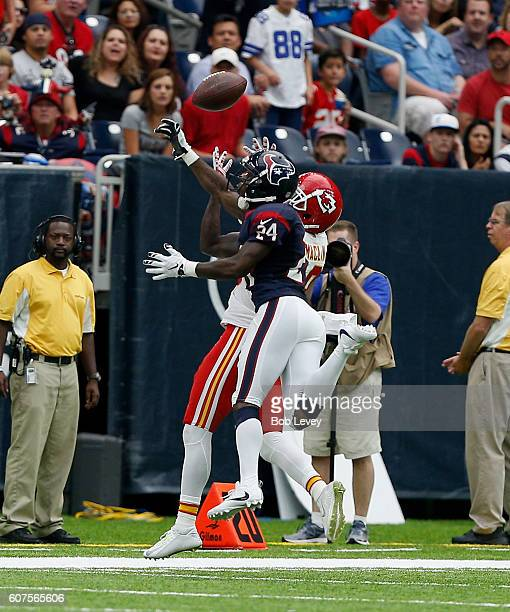 Johnathan Joseph of the Houston Texans breaks up a pass intended for Jeremy Maclin of the Kansas City Chiefs at NRG Stadium on September 18 2016 in...