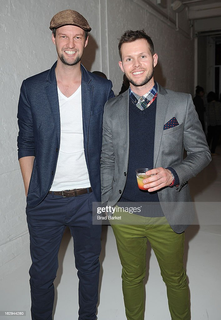 Johnathan Knight(L) and Dean West attend the In Pieces Exhibition Opening at Openhouse Gallery on March 1, 2013 in New York City.