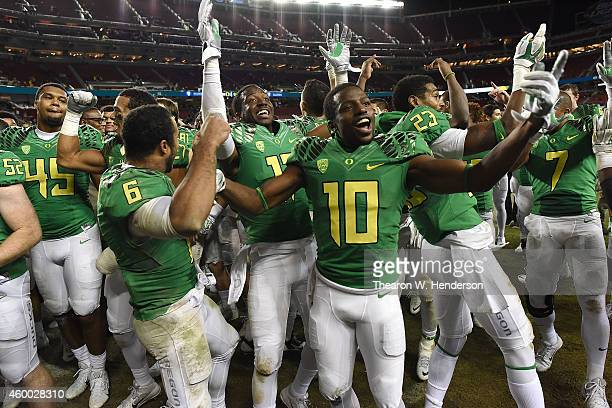 Johnathan Loyd of the Oregon Ducks celebrates their PAC12 Championship victory against the Arizona Wildcats at Levi's Stadium on December 5 2014 in...