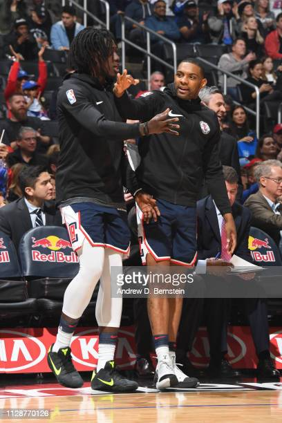 Johnathan Motley and Sindarius Thornwell of the LA Clippers react during a game against the New York Knicks on March 3 2019 at STAPLES Center in Los...