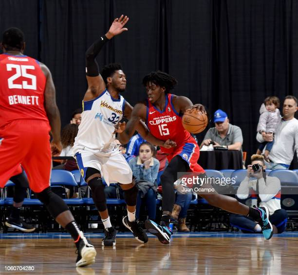 Johnathan Motley of the Agua Caliente Clippers of Ontario drives to the basket against Marcus Derrickson of the Santa Cruz Warriors on November 9...