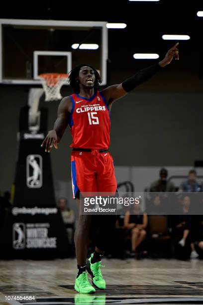 Johnathan Motley of the Agua Caliente Clippers reacts against the Capital City GoGo during the NBA G League Winter Showcase at Mandalay Bay Events...