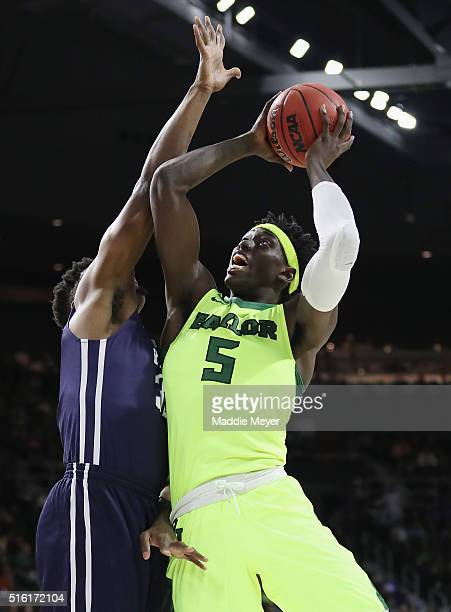Johnathan Motley of the Baylor Bears drives to the basket in the first half against the Yale Bulldogs during the first round of the 2016 NCAA Men's...