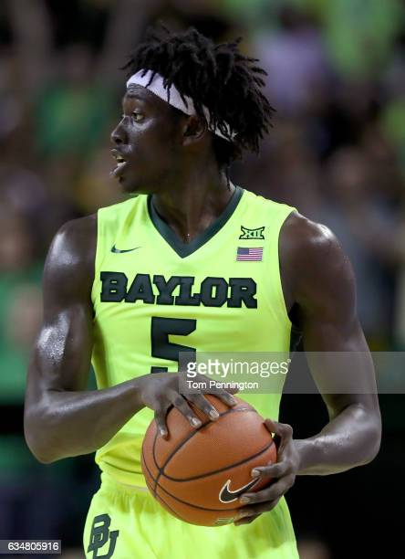 Johnathan Motley of the Baylor Bears looks to pass the ball against the TCU Horned Frogs in the second half at Ferrell Center on February 11 2017 in...