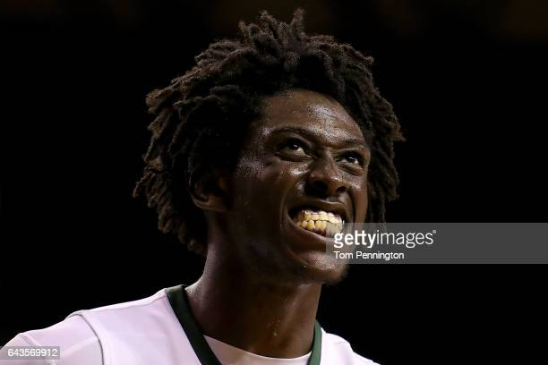 Johnathan Motley of the Baylor Bears reacts after scoring against the Oklahoma Sooners in the second half at Ferrell Center on February 21 2017 in...