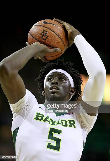 Johnathan Motley of the Baylor Bears shoots a free throw against the Texas Southern Tigers in the first half at Ferrell Center on December 21 2016 in...