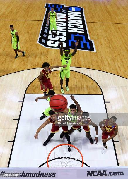Johnathan Motley of the Baylor Bears takes a free throw against the USC Trojans during the second round of the 2017 NCAA Men's Basketball Tournament...