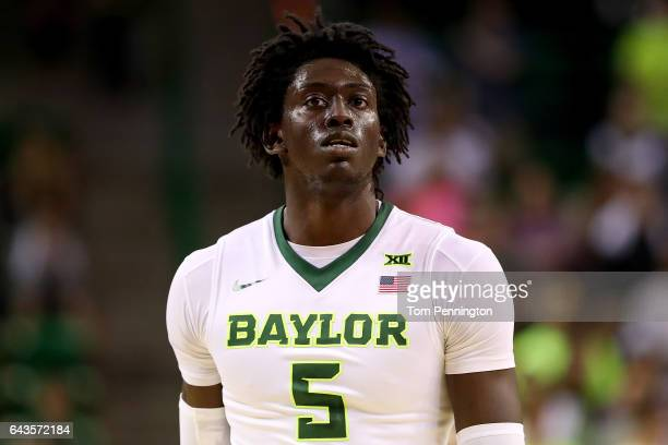 Johnathan Motley of the Baylor Bears takes on the Oklahoma Sooners in the first half at Ferrell Center on February 21 2017 in Waco Texas