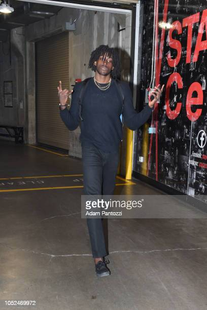Johnathan Motley of the LA Clippers arrives to the arena before a game against the Denver Nuggets on October 17 2018 at Staples Center in Los Angeles...