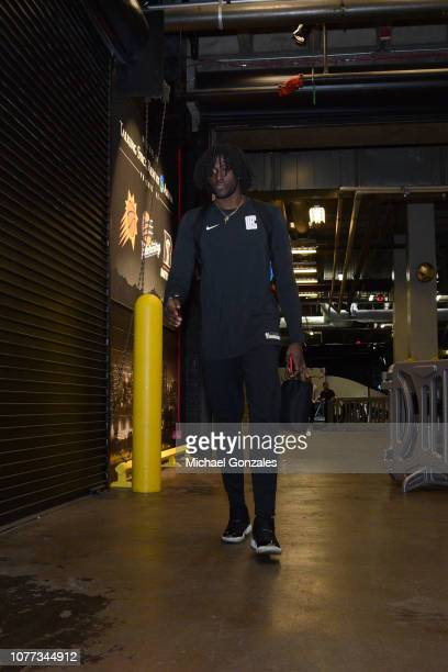 Johnathan Motley of the LA Clippers arrives to the game against the Phoenix Suns on January 04 2019 at Talking Stick Resort Arena in Phoenix Arizona...