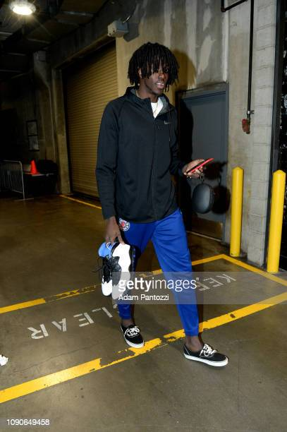 Johnathan Motley of the LA Clippers arrives to the game against the Sacramento Kings on January 27 2019 at STAPLES Center in Los Angeles California...