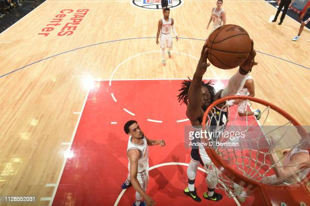 Johnathan Motley of the LA Clippers dunks the ball against the New York Knicks on March 3 2019 at STAPLES Center in Los Angeles California NOTE TO...