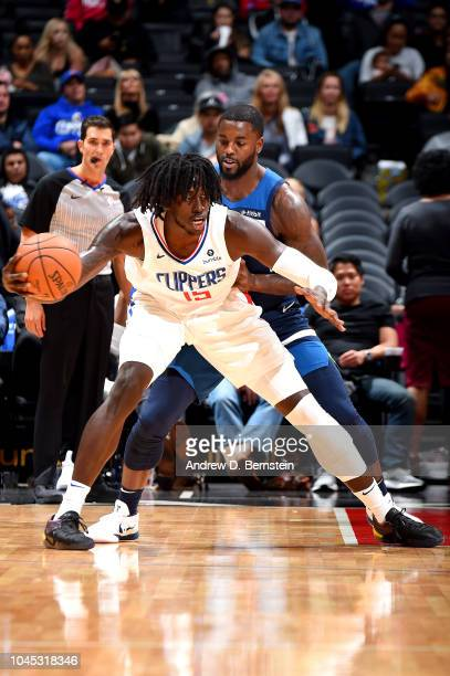 Johnathan Motley of the LA Clippers handles the ball against the Minnesota Timberwolves during a preseason game on October 3 2018 at Staples Center...