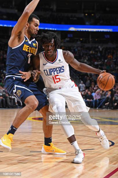 Johnathan Motley of the LA Clippers handles the ball against the Denver Nuggets on January 10 2019 at the Pepsi Center in Denver Colorado NOTE TO...
